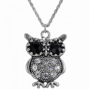 Vintage Rhinestone Owl Necklace