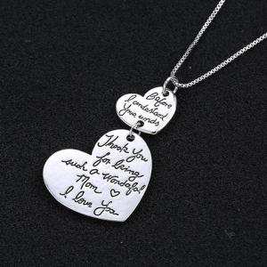 Alloy Double Hearts Letters Pendant Necklace -