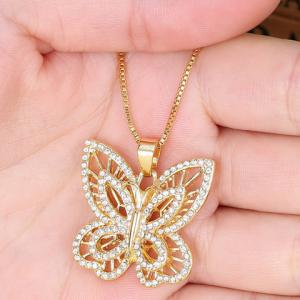 Hollow Out Rhinestoned Butterfly Necklace -