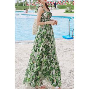 Fashionable Spaghetti Strap Print Chiffon Bohemian Dress For Women -