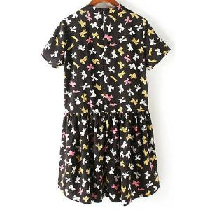 Trendy Mock Neck Short Sleeve Bowknot Print Women's Dress -