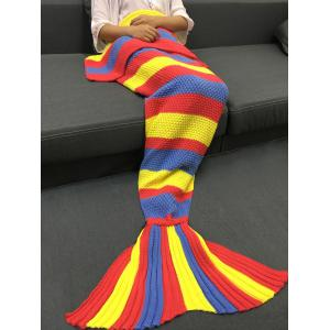 Fashionable Colorful Stripe Pattern Knitted Mermaid Design Throw Blanket