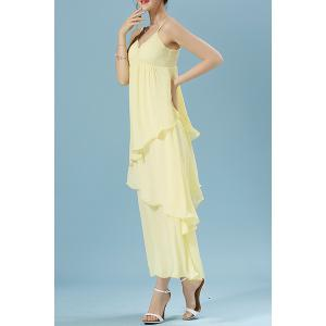 Casual V-Neck Spaghetti Strap Ruffled Dress For Women -
