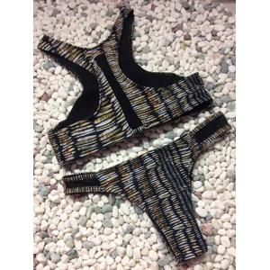 Stylish High Neck Print Mesh Splicing Bikini Set For Women