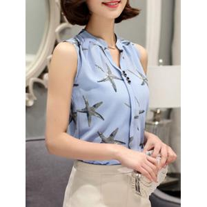 Fashionable V-Neck Sleeveless Star Print Chiffon Blouse For Women -