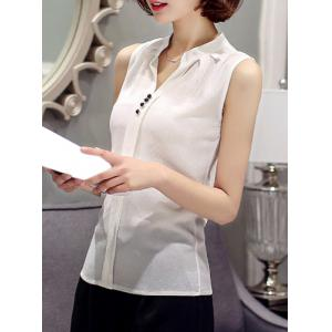 Fashionable V-Neck Sleeveless Solid Color Chiffon Blouse For Women -