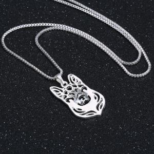 Hollow Out Herding Dog Alloy Pendant Necklace - SILVER