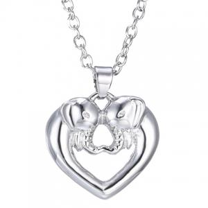 Hollow Out Heart Elephant Alloy Pendant Necklace