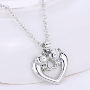 Hollow Out Heart Elephant Alloy Pendant Necklace -