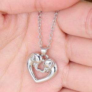 Hollow Out Heart Elephant Alloy Pendant Necklace - SILVER