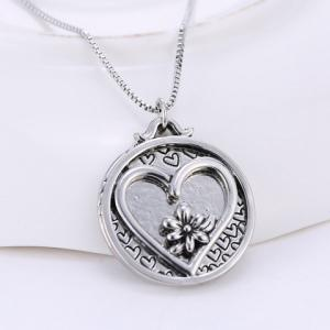 Engraved Medallion Pendant Necklace - SILVER