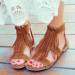 Casual Rivets and Fringe Design Sandals For Women -