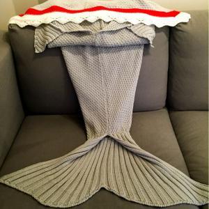 High Quality Knitted Shark Shape Mermaid Tail Design Blanket -