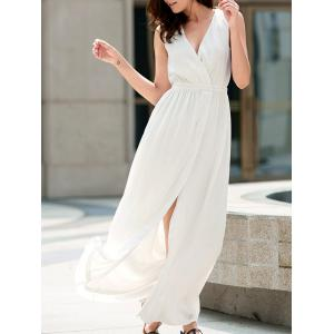Flowy Summer Chiffon Split Maxi Dress - White - Xl