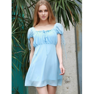 Alluring Square Collar Open Back Self-Tie Short Sleeve Dress For Women -