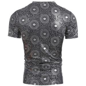 Trendy V-Neck Stamping Design Short Sleeve Slimming Men's T-Shirt - SILVER 2XL