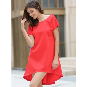 Asymmetrical Jewel Neck Short Sleeve Dress -