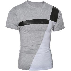 Trendy Round Neck Color Block PU-Leather Spliced Short Sleeve Men's T-Shirt - Gray - Xl