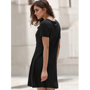 Sweet Style Plunging Neck Short Sleeve Solid Color Wrap Dress For Women -