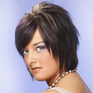Spiffy Short Side Bang Capless Fashion Purple Highlight Straight Synthetic Wig For Women -