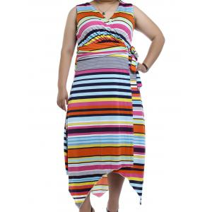 V-Neck Multicolor Striped Asymmetrical Maxi Dress
