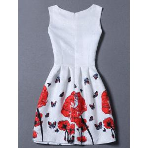 Sweet Floral Jacquard Sleeveless Round Neck Women's Dress - WHITE XL