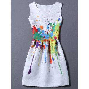 Sweet Colorful Print Round Neck Women's Dress - White - Xl