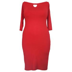 Elegant Off-The-Shoulder 3/4 Sleeve Solid Color Plus Size Dress For Women - Red - Xl