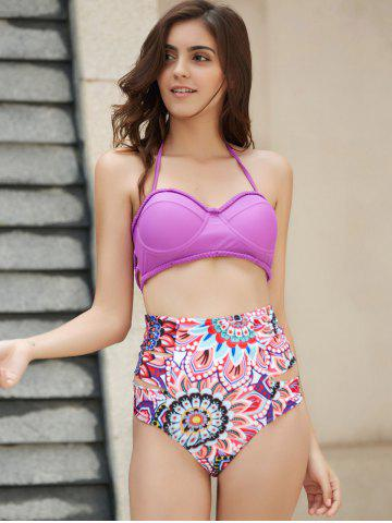 Outfit Halter   Floral Print High Waist Two Piece Set PURPLE S