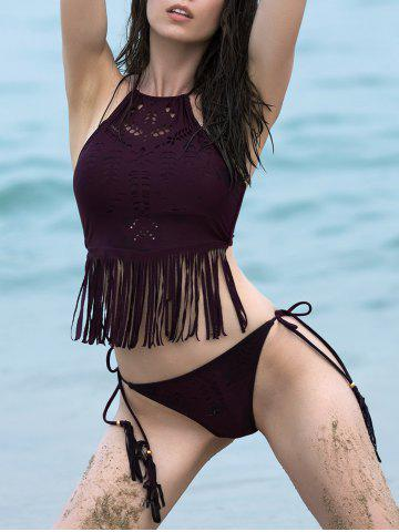 Trendy High Neck Halter Cut Out Fringe Bathing Suit CLARET M