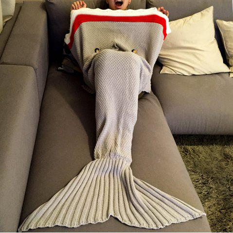 High Quality Knitted Shark Shape Mermaid Tail Design Blanket - Light Gray - M