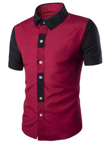 Best Special Button Fly Color Spliced Turn-down Collar Short Sleeves Shirt For Men