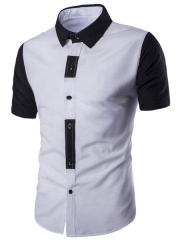 Discount Special Button Fly Color Spliced Turn-down Collar Short Sleeves Shirt For Men