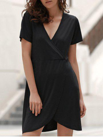 Fancy Sweet Style Plunging Neck Short Sleeve Solid Color Wrap Dress For Women