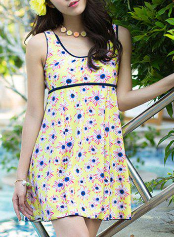 Outfits U-Neck Floral Print Cute One Piece Swimsuit - 3XL YELLOW Mobile