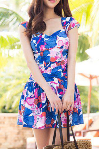 Outfit Sweet Cap Sleeves Square Neck Ruffled Design One-Piece Women's Swimsuit