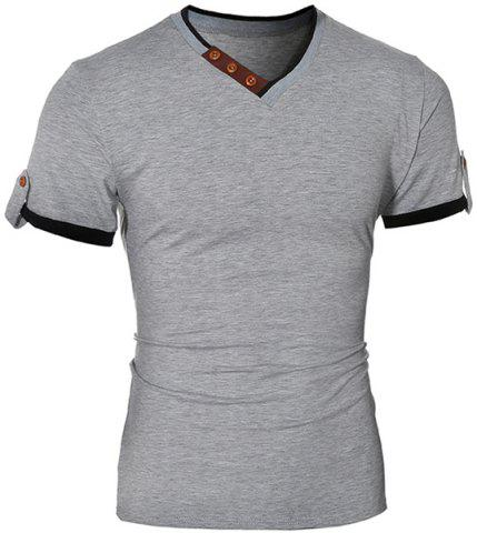 New Trendy V-Neck Color Block Spliced Button Embellished Short Sleeve Men's T-Shirt