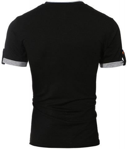 Chic Trendy V-Neck Color Block Spliced Button Embellished Short Sleeve Men's T-Shirt - XL BLACK Mobile
