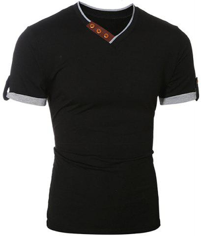 Outfit Trendy V-Neck Color Block Spliced Button Embellished Short Sleeve Men's T-Shirt - XL BLACK Mobile