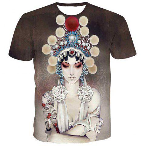 Cheap Fashion Men's Pullover Round Collar Actress Printing T-Shirt - M COLORMIX Mobile