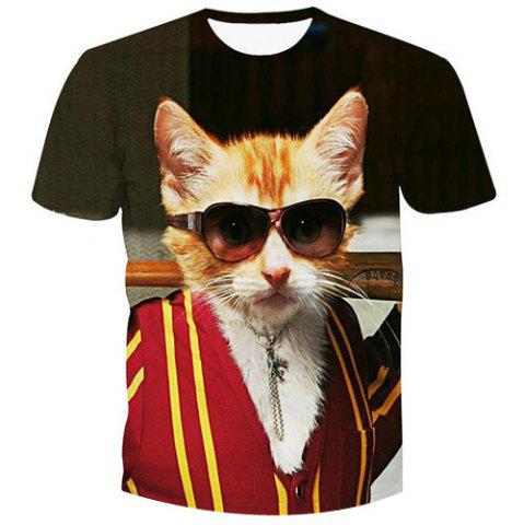 Discount Men's Fashion Pullover Cat Printed T-Shirt
