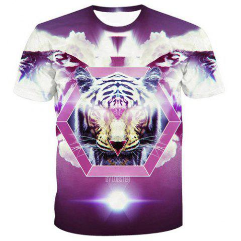 Trendy Men's Fashion Pullover Tiger Printed T-Shirt -   Mobile