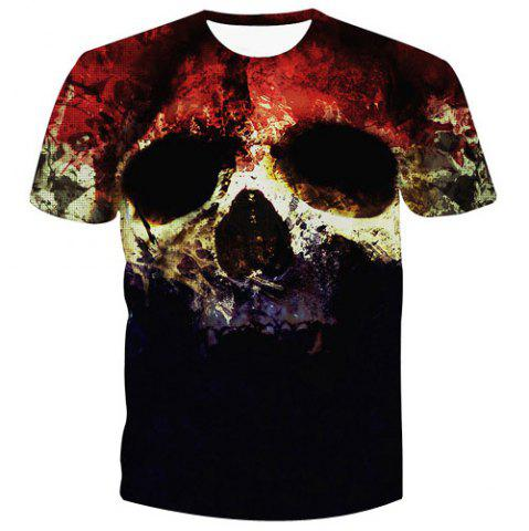Discount Fashion Pullover Skull Printed Men's T-Shirt - XL COLORMIX Mobile