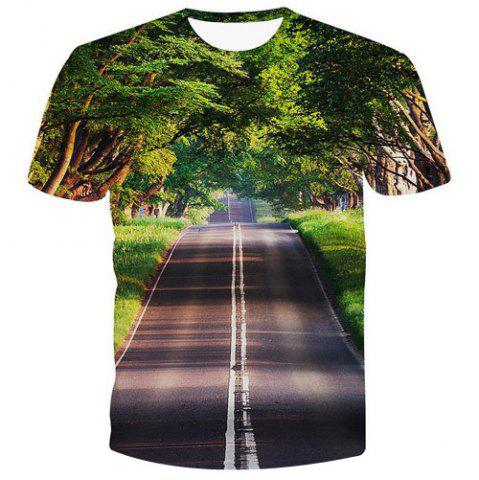 Chic Fashion Pullover Road Printed Men's T-Shirt - 2XL COLORMIX Mobile