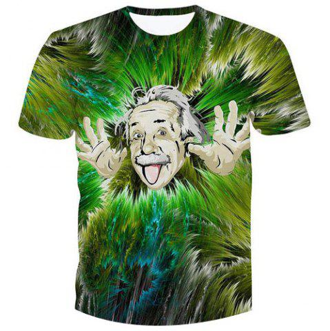Online Fashion Pullover Einstein Printed Character T-Shirt - M GREEN Mobile
