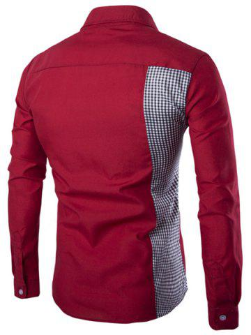 Outfit Classic Plaid Spliced Slimming Turn-down Collar Long Sleeves Shirt For Men - M WINE RED Mobile