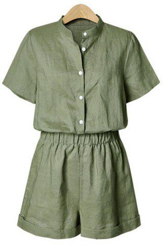 Chic Single Breasted Short Romper - L ARMY GREEN Mobile