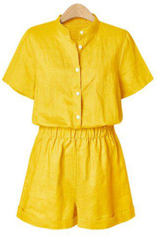 Shop Single Breasted Short Romper - M YELLOW Mobile
