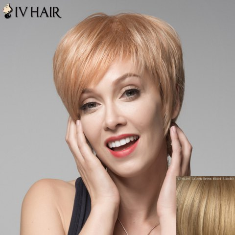 Chic Women's Shaggy Siv Hair Short Oblique Bang Human Hair Wig