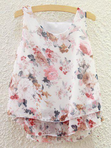 Chic Sweet Scoop Neck Tiny Floral Print Chiffon Tank Top For Women